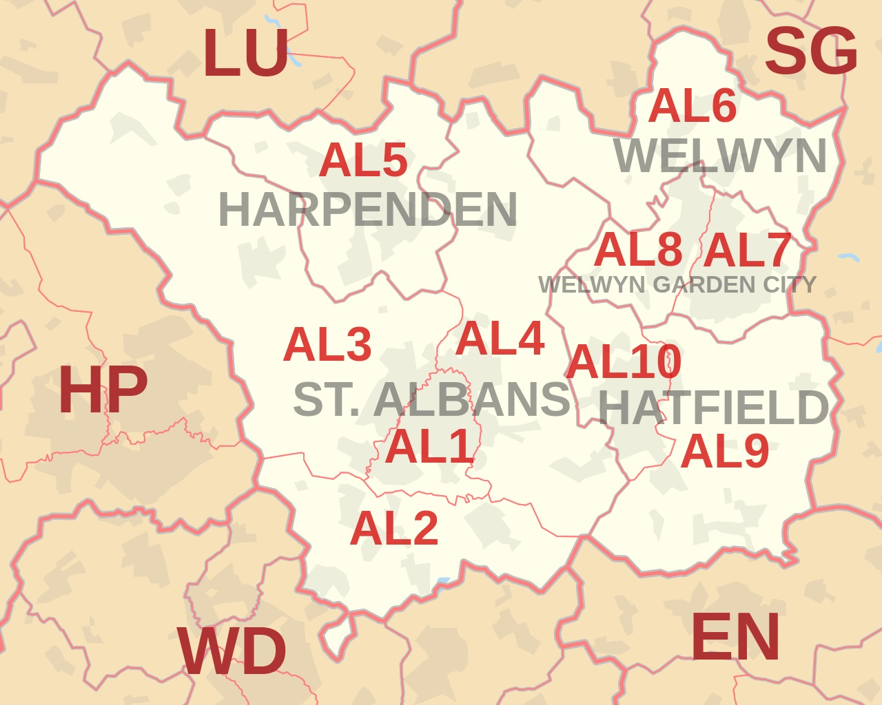 AL postcode area map